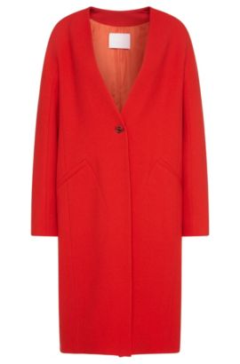 Coat in wool blend with fastening in cufflink style: 'Cubali', Red