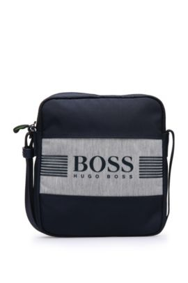 Reporter bag in fabric blend in logo look: 'Pixel JNS zip', Dark Blue