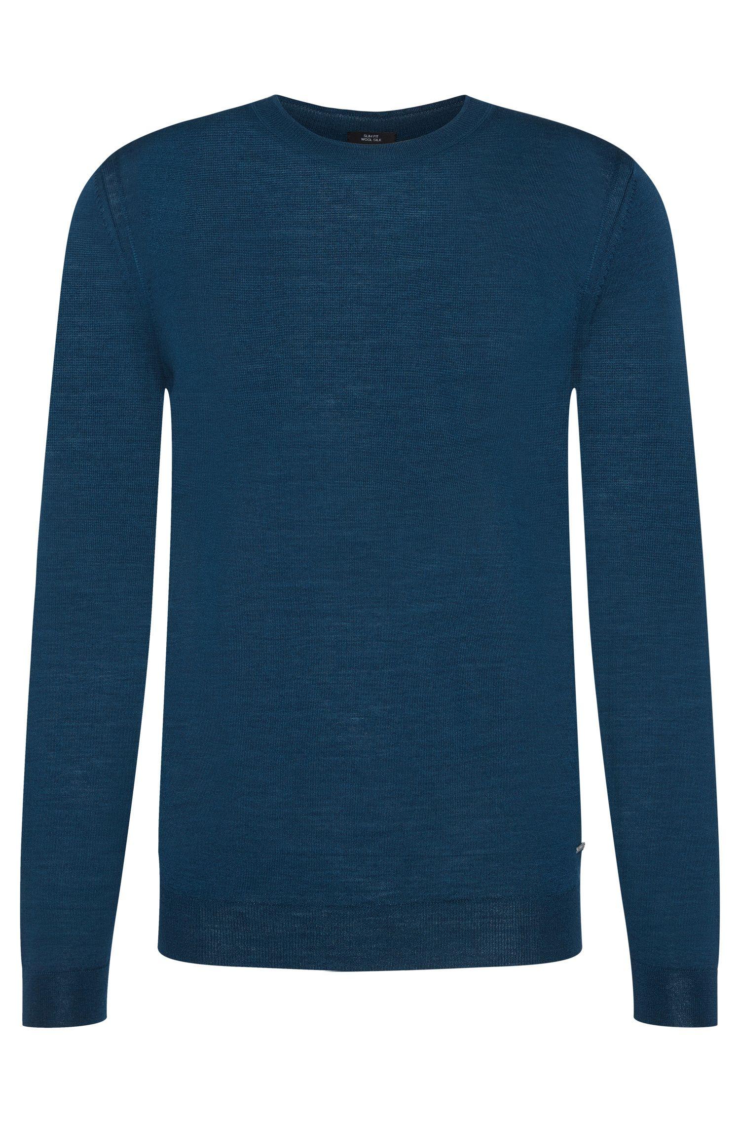Maglione slim fit tinta unita Tailored in misto lana vergine con seta: 'T-Ion'