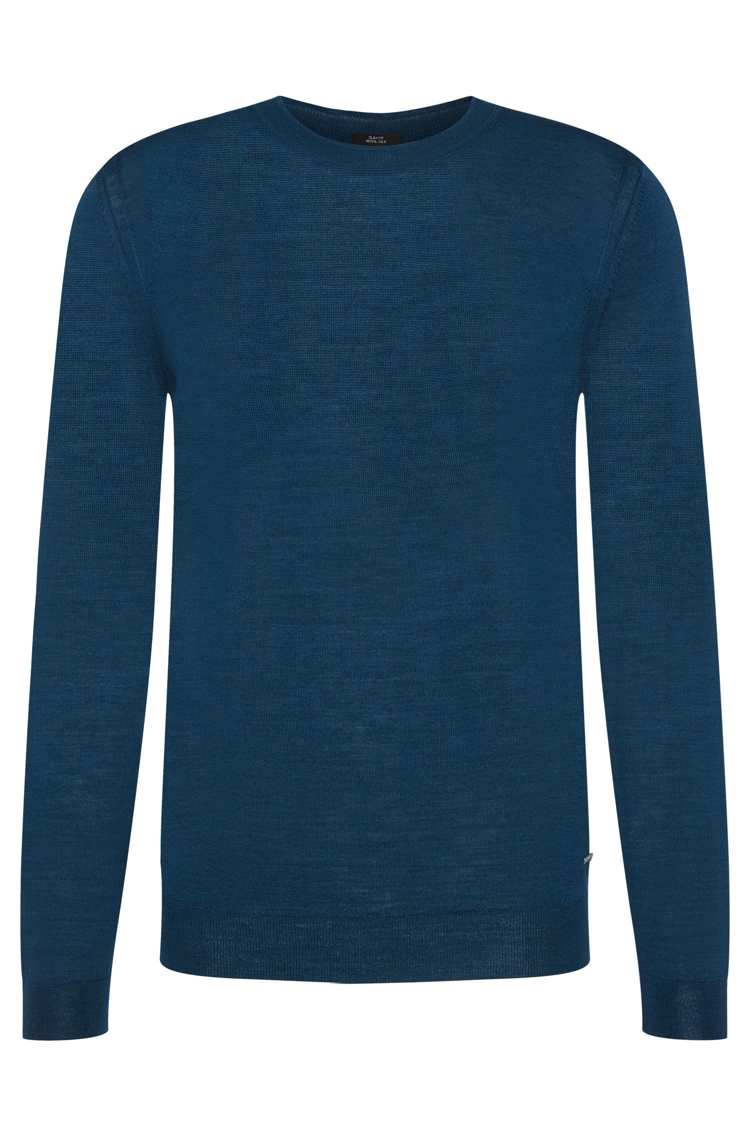 Maglione slim fit tinta unita Tailored in misto lana vergine con seta: 'T-Ion'