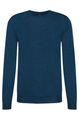 Unifarbener Slim-Fit Tailored Pullover aus Schurwoll-Mix mit Seide: 'T-Ion', Türkis