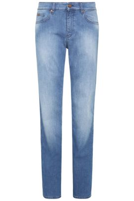 Slim-fit jeans in washed stretch cotton: 'C-DELAWARE1', Blue