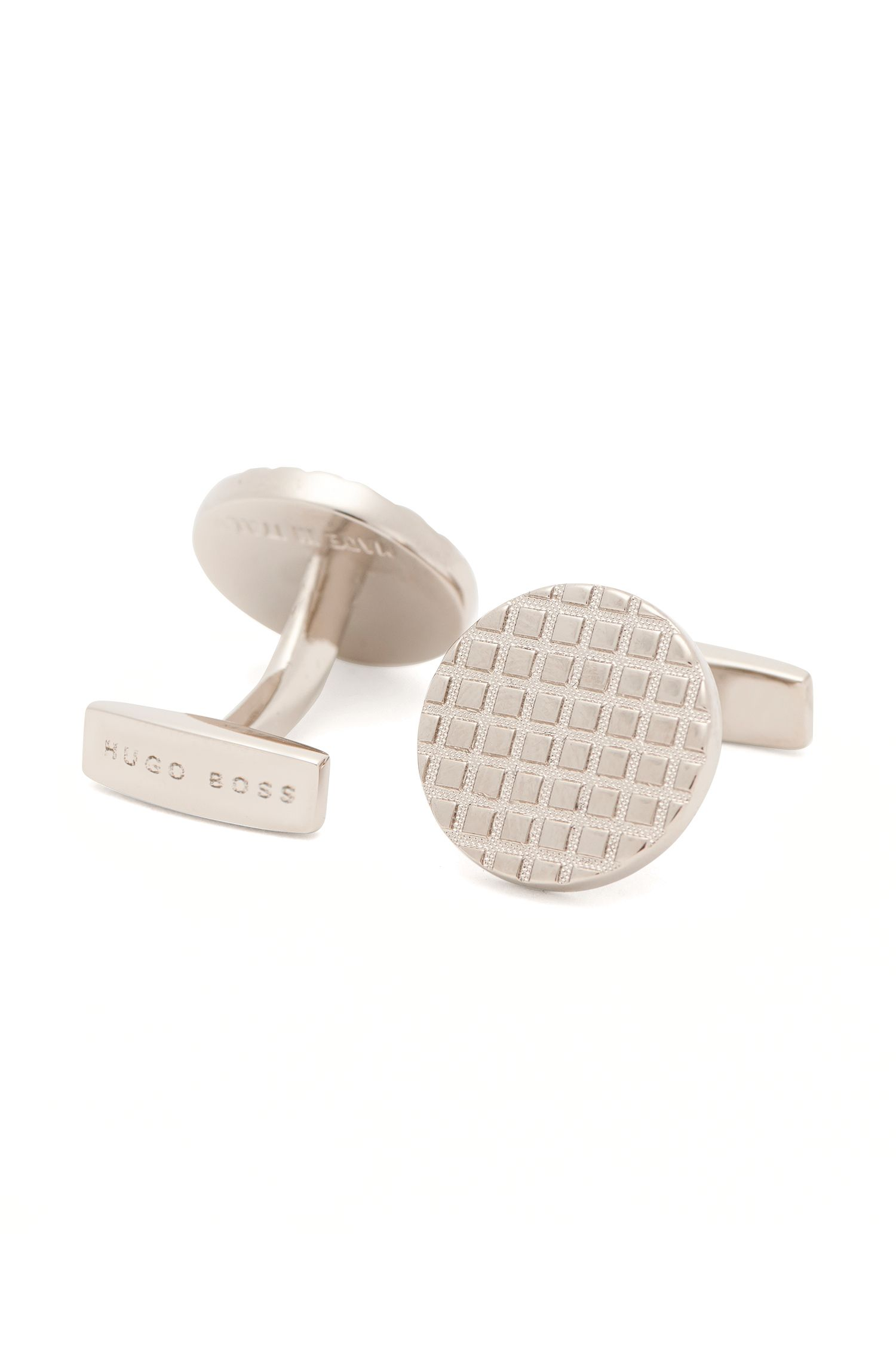 Textured cufflinks in brass: 'Armin'