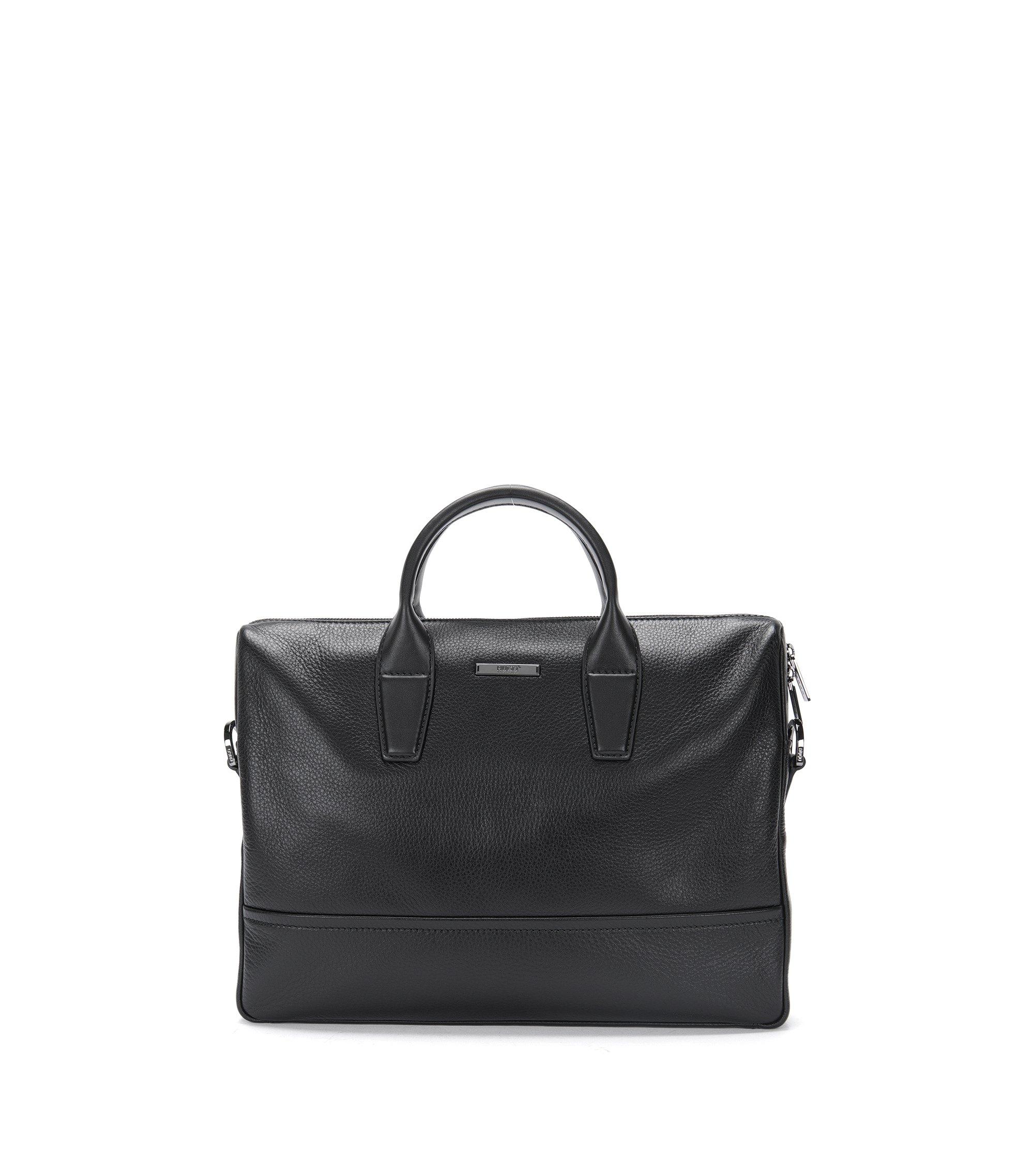 Aktentasche aus genarbtem und glattem Leder, Schwarz