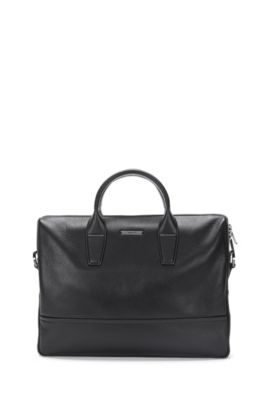 Document case in grained and smooth leather, Black
