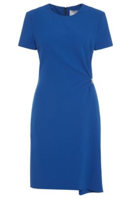 Plain dress with gathering at the sides: 'Dirami', Blue