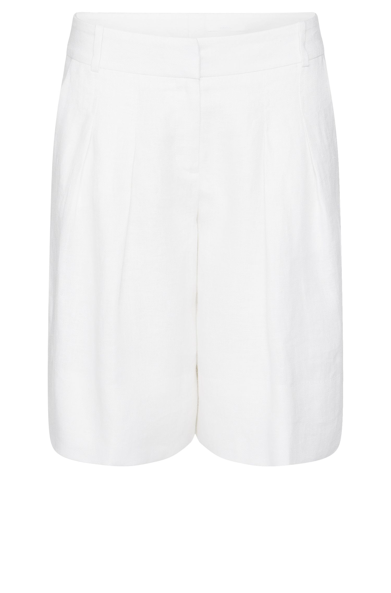 Relaxed-fit shorts in linen with waist pleats: 'Tylinea'