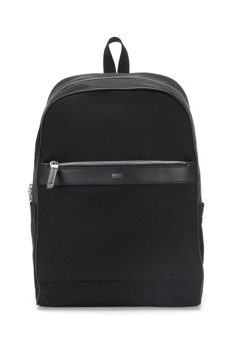 Rucksack in zip-around design with leather details: 'Digital L_Backp S17', Black