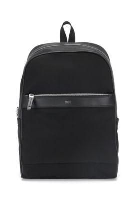 Rugzak met ziparound-ontwerp en leerdetails: 'Digital L_Backp S17', Zwart