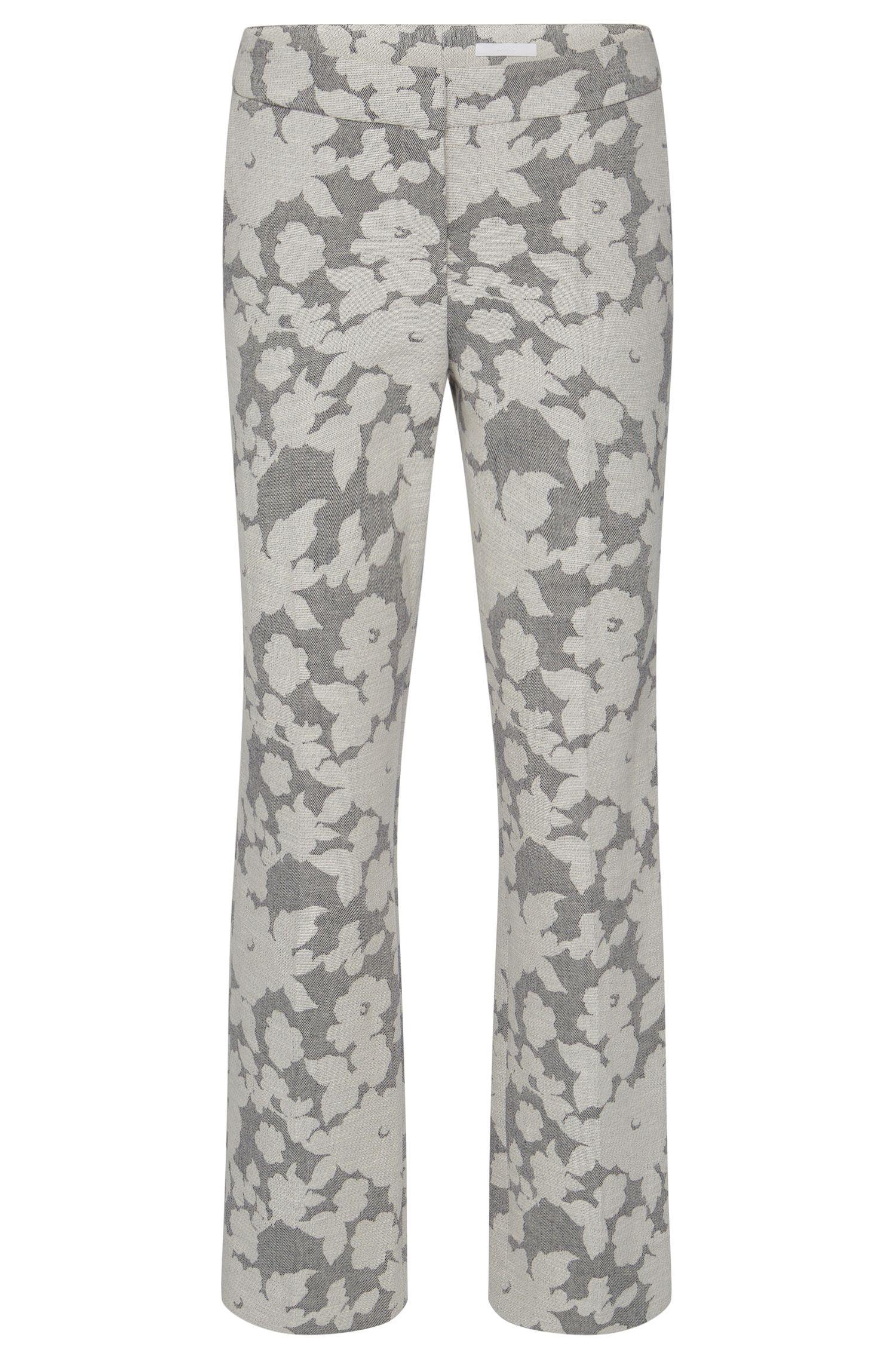 Regular-Fit broek met dessin, van een katoenmix met linnen: 'Allery'