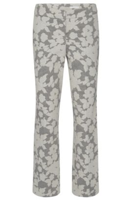 Patterned regular-fit trousers in cotton blend with linen: 'Allery', Patterned