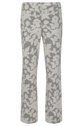 Regular-Fit broek met dessin, van een katoenmix met linnen: 'Allery', Bedrukt
