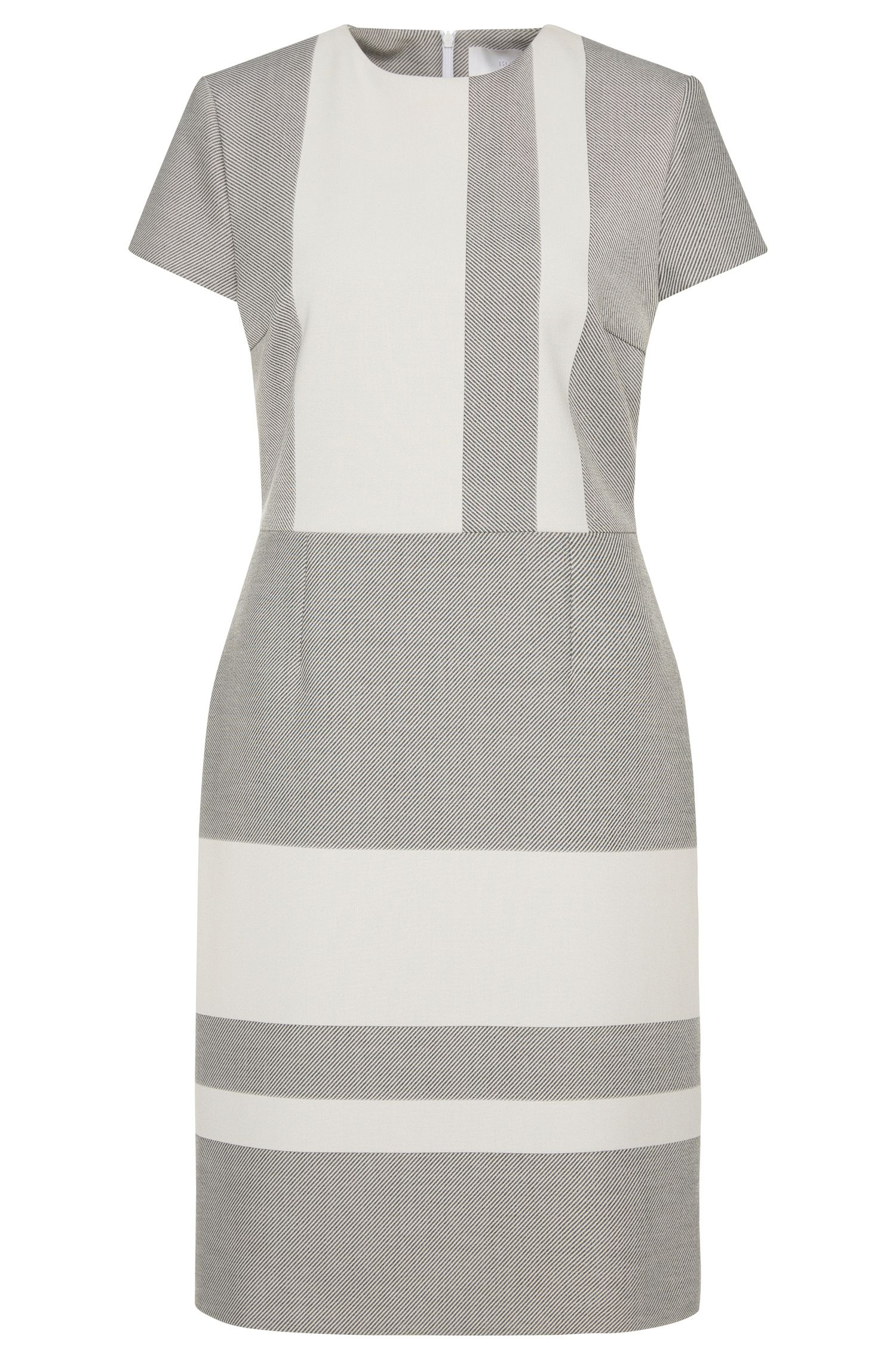 Short-sleeved dress with a modern striped design: 'Hermely'