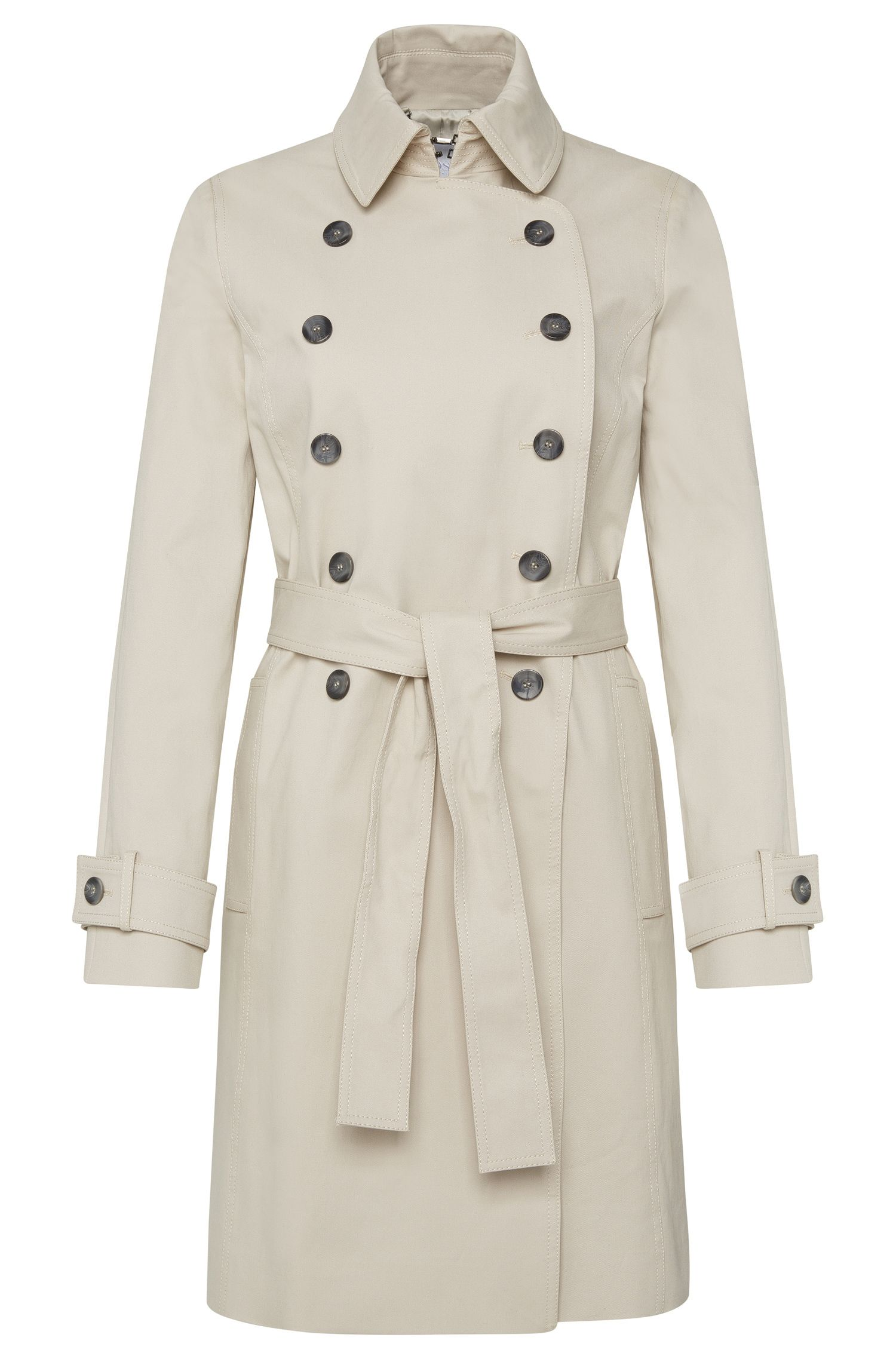 Coat in stretch cotton with double-breasted button placket: 'Cirala'