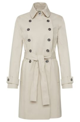 Coat in stretch cotton with double-breasted button placket: 'Cirala', Light Beige