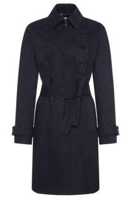 Coat in stretch cotton with double-breasted button placket: 'Cirala', Dark Blue