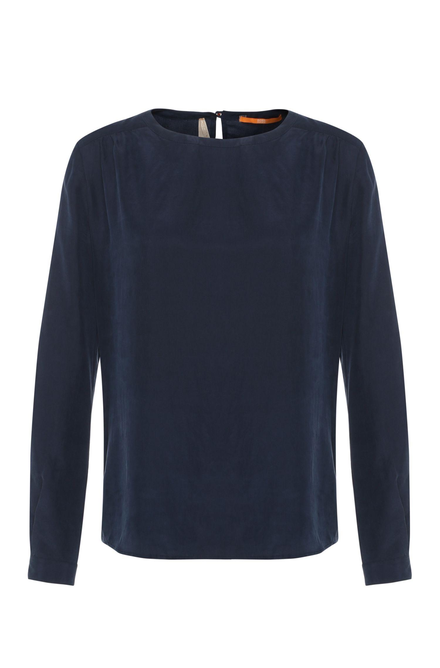 Top in seta regular fit con maniche lunghe: 'Edic'