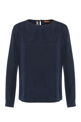 Top in seta regular fit con maniche lunghe: 'Edic', Blu scuro