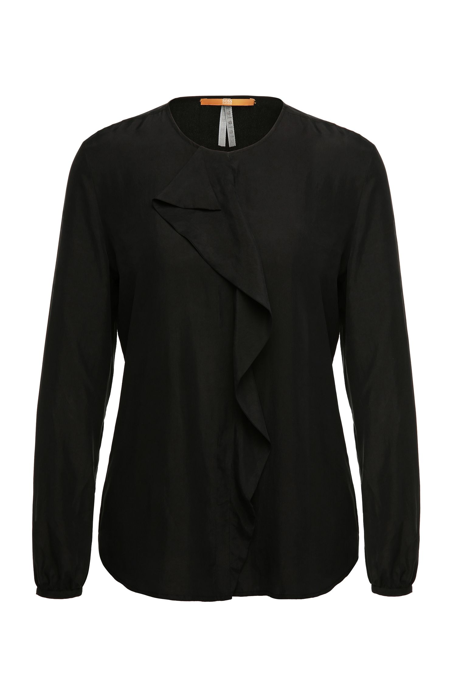 Slim-fit silk top with flounces: 'Confet'