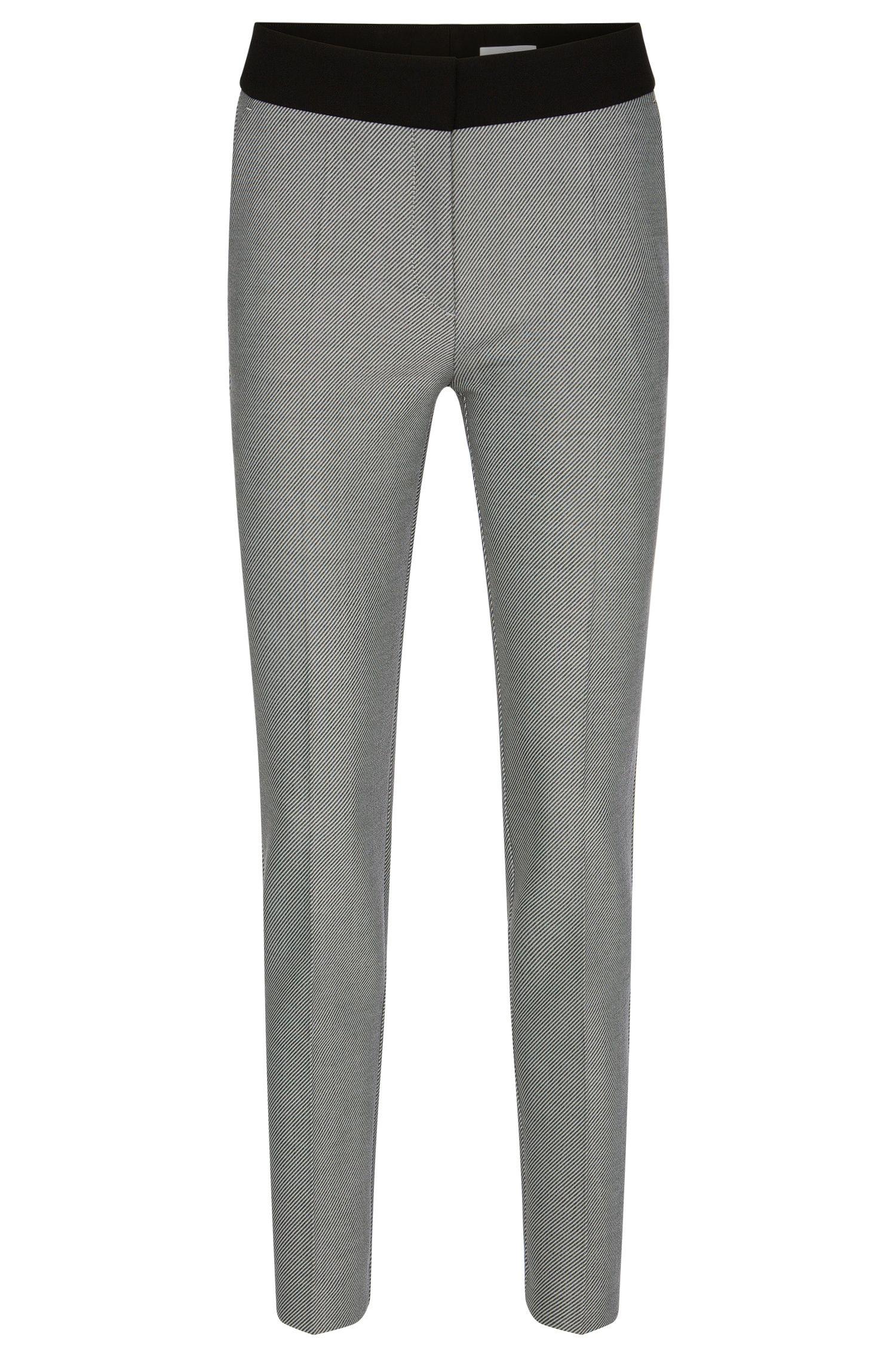 Diagonaal gestreepte slim-fit broek met effen band: 'Acnella'