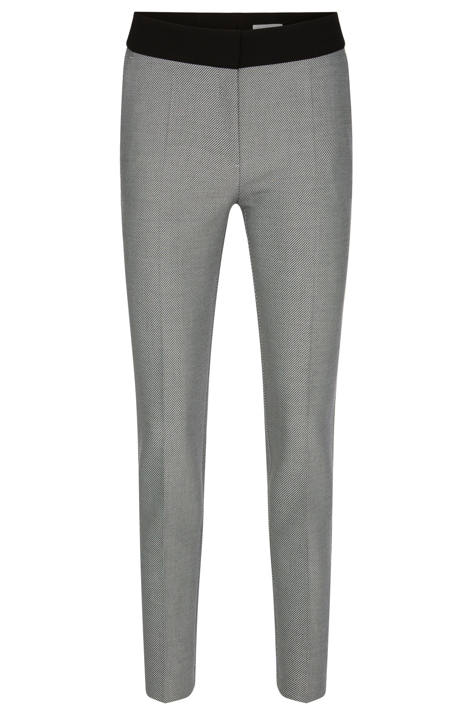 Diagonally striped slim-fit trousers with a plain waistband: 'Acnella'