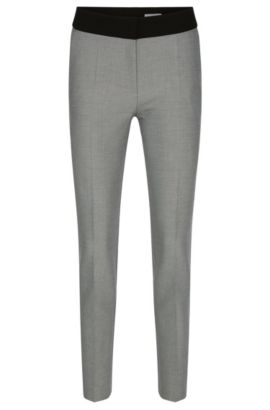 Diagonally striped slim-fit trousers with a plain waistband: 'Acnella', Patterned