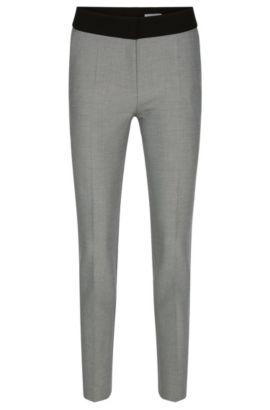 Diagonaal gestreepte slim-fit broek met effen band: 'Acnella', Bedrukt