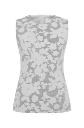 Patterned top in cotton blend with linen: 'Illery', Patterned