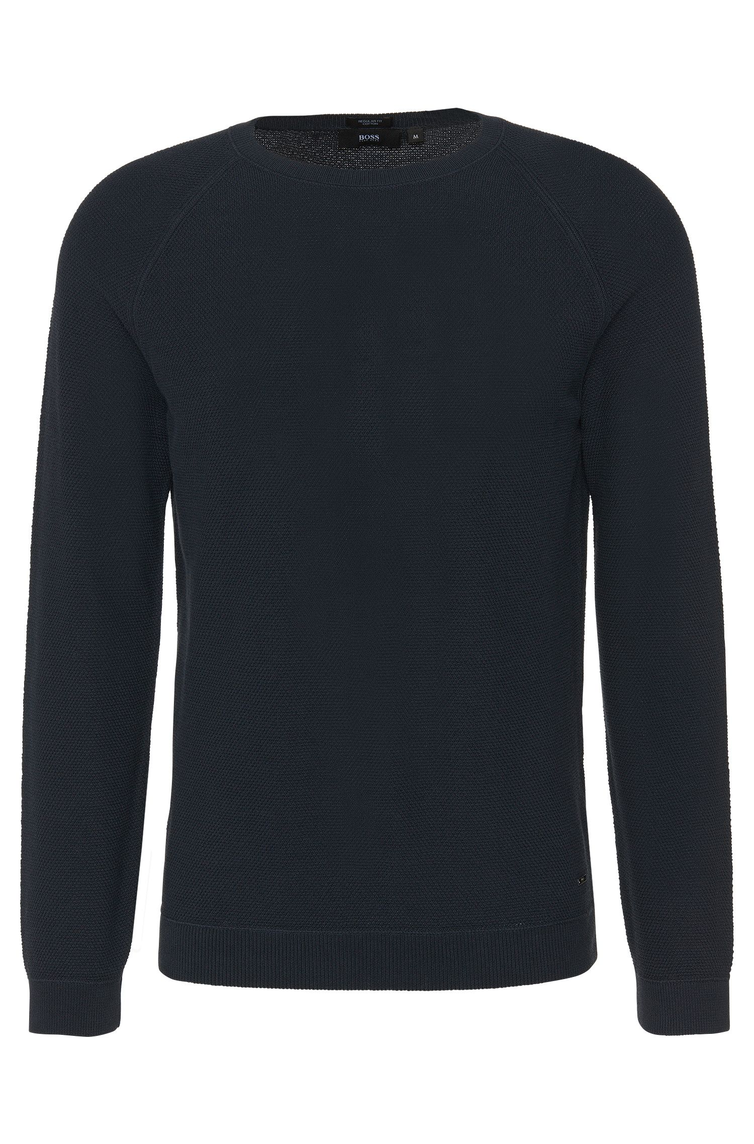 Plain regular-fit sweater in cotton: 'Ilian'