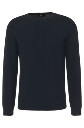 Plain regular-fit sweater in cotton: 'Ilian', Dark Blue