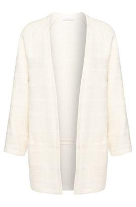 Open knitwear blazer in stretchy cotton blend: 'Krala', Natural