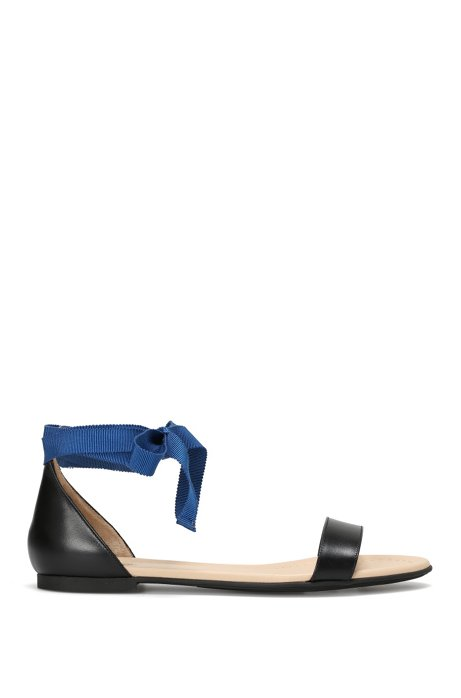 Leather sandals with textile bands: 'Felix', Black