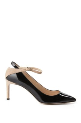 Leather buckle pumps in a mixture of textures: 'Gracie', Black