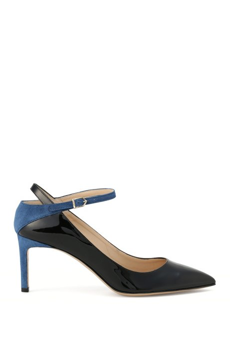Leather buckle pumps in a mixture of textures: 'Gracie', Blue