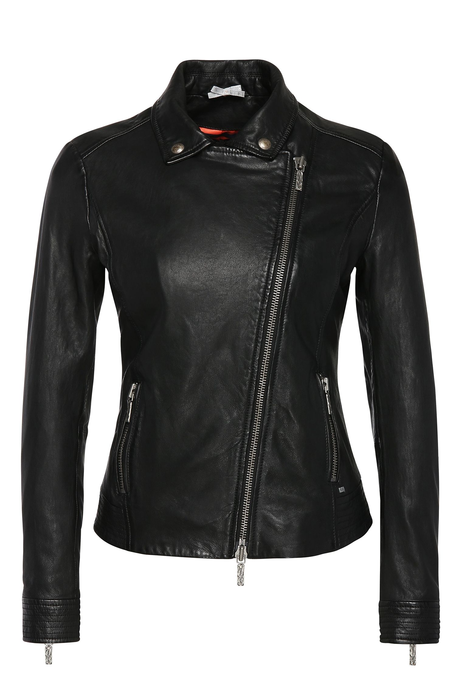 Leren slim-fit jas in een bikersilhouet: 'Jamela1'