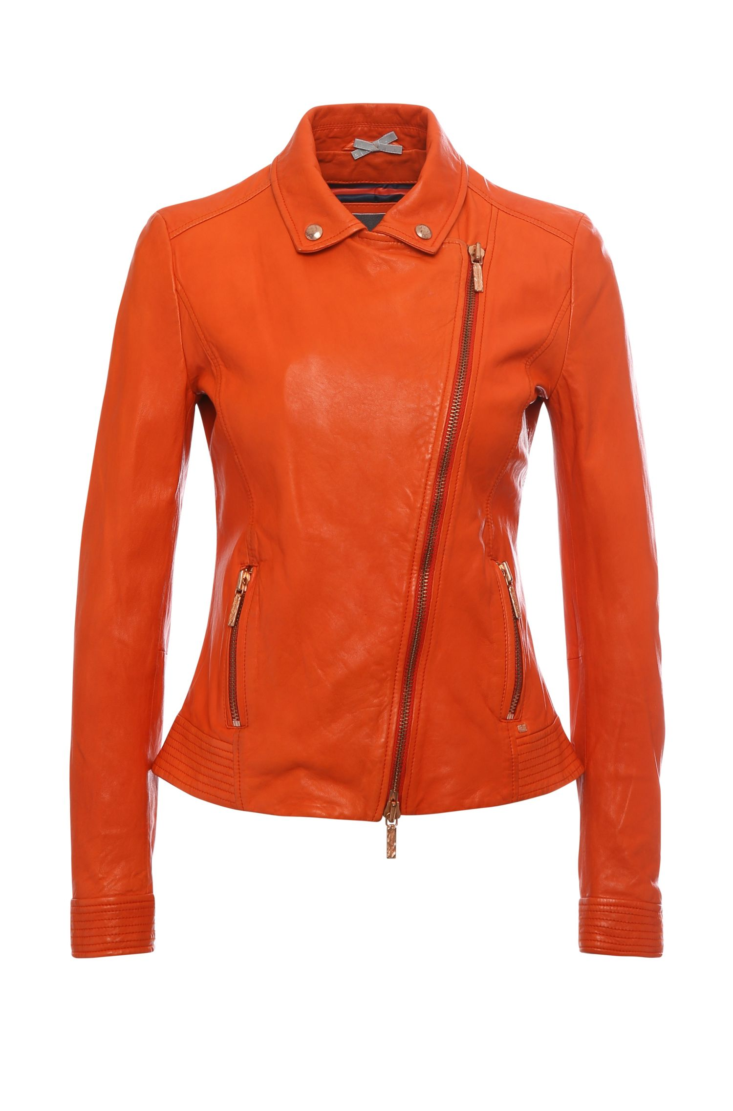 Blouson en cuir Slim Fit de coupe motard : « Jamela1 »