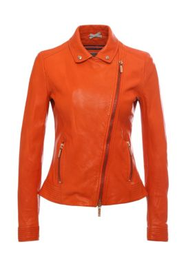 Slim-Fit Lederjacke in Biker-Silhouette: ´Jamela1`, Rot