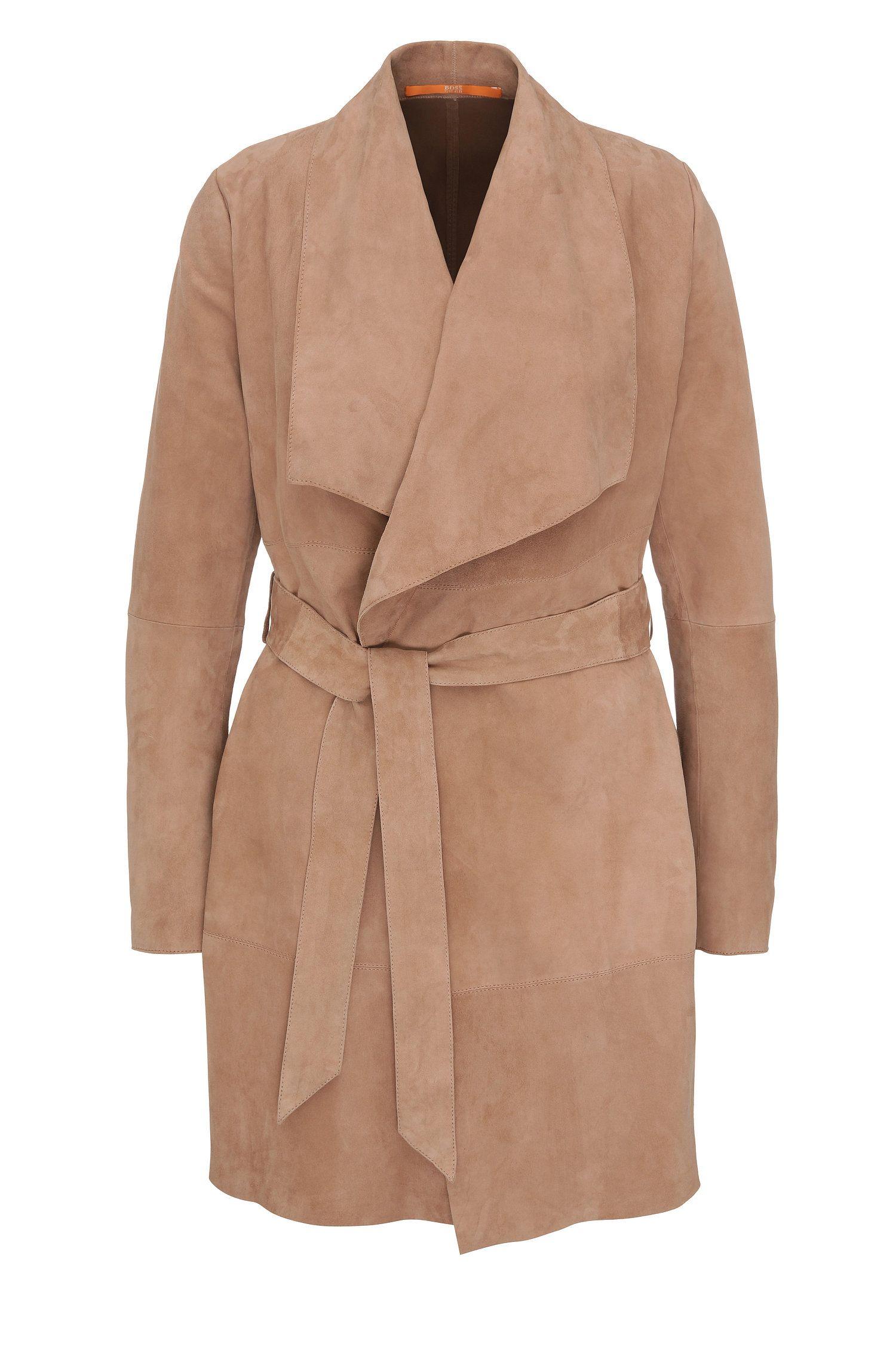 Cappotto in pelle regular fit con effetto scaldacuore: 'Jawalla'