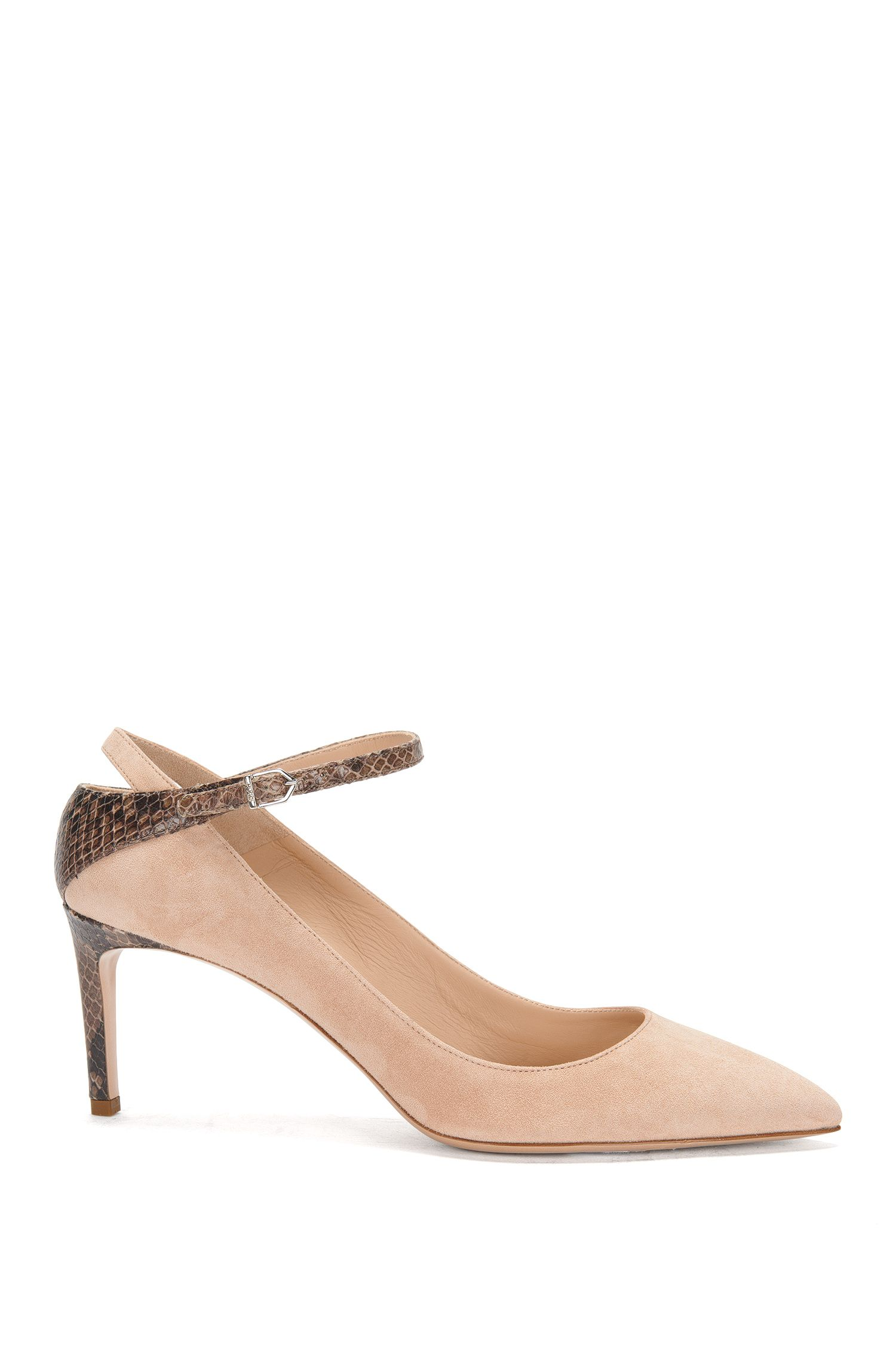 Leather buckle pumps in a mixture of textures: 'Gracie-P'