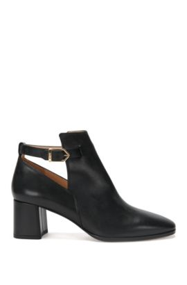 Leather high-front pumps with block heel: 'Gypsy', Black