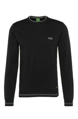 Jersey slim fit en mezcla de algodón con puños a rayas: 'Rime_S17', Negro