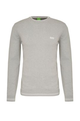 Slim-fit sweater in cotton blend with striped cuffs: 'Rime_S17', Light Grey