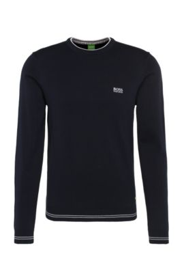 Slim-fit sweater in cotton blend with striped cuffs: 'Rime_S17', Dark Blue