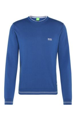 Slim-fit sweater in cotton blend with striped cuffs: 'Rime_S17', Open Blue