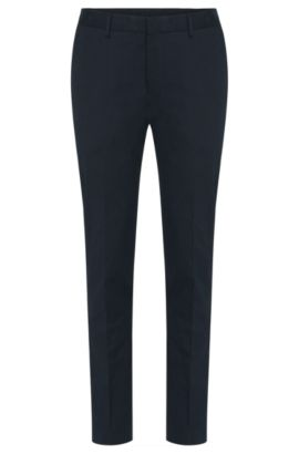 Slim-fit trousers in stretch cotton with leather effect piping: 'Barao', Dark Blue