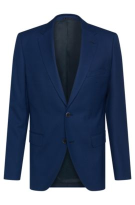Finely textured regular-fit jacket in new wool: 'Jewels1', Blue