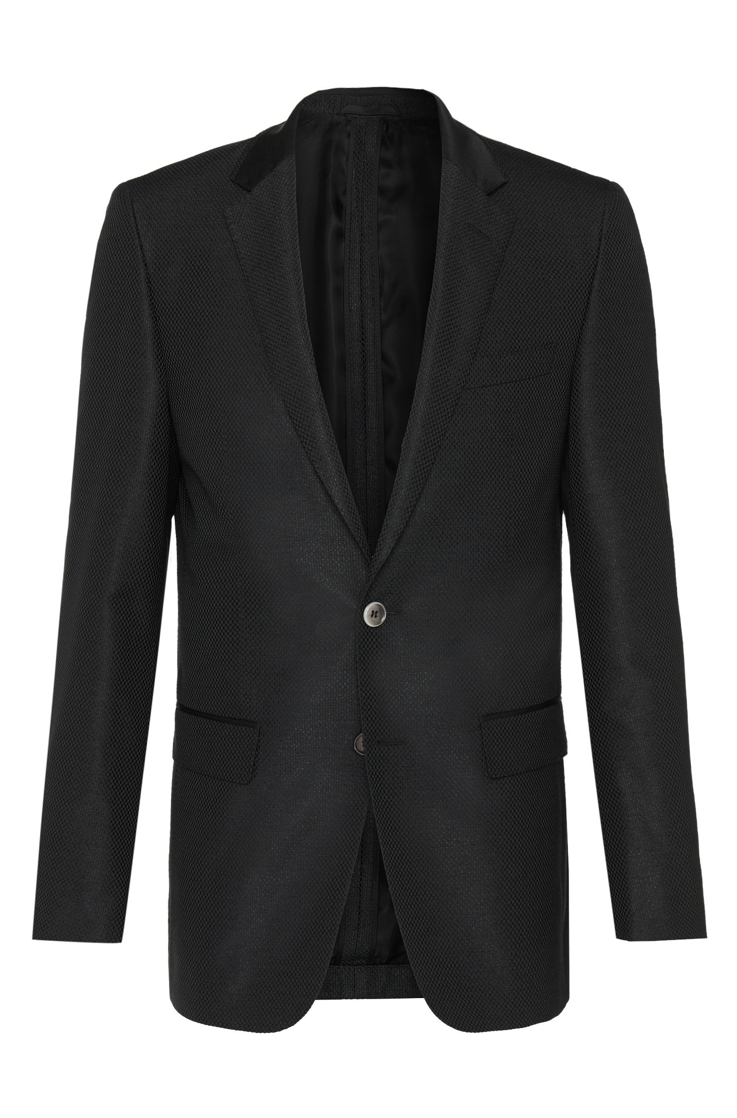 Slim-fit Tailored jacket in silk blend with mother of pearl buttons: 'T-Hancock'