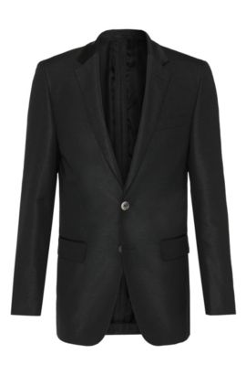 Slim-fit Tailored jacket in silk blend with mother of pearl buttons: 'T-Hancock', Black