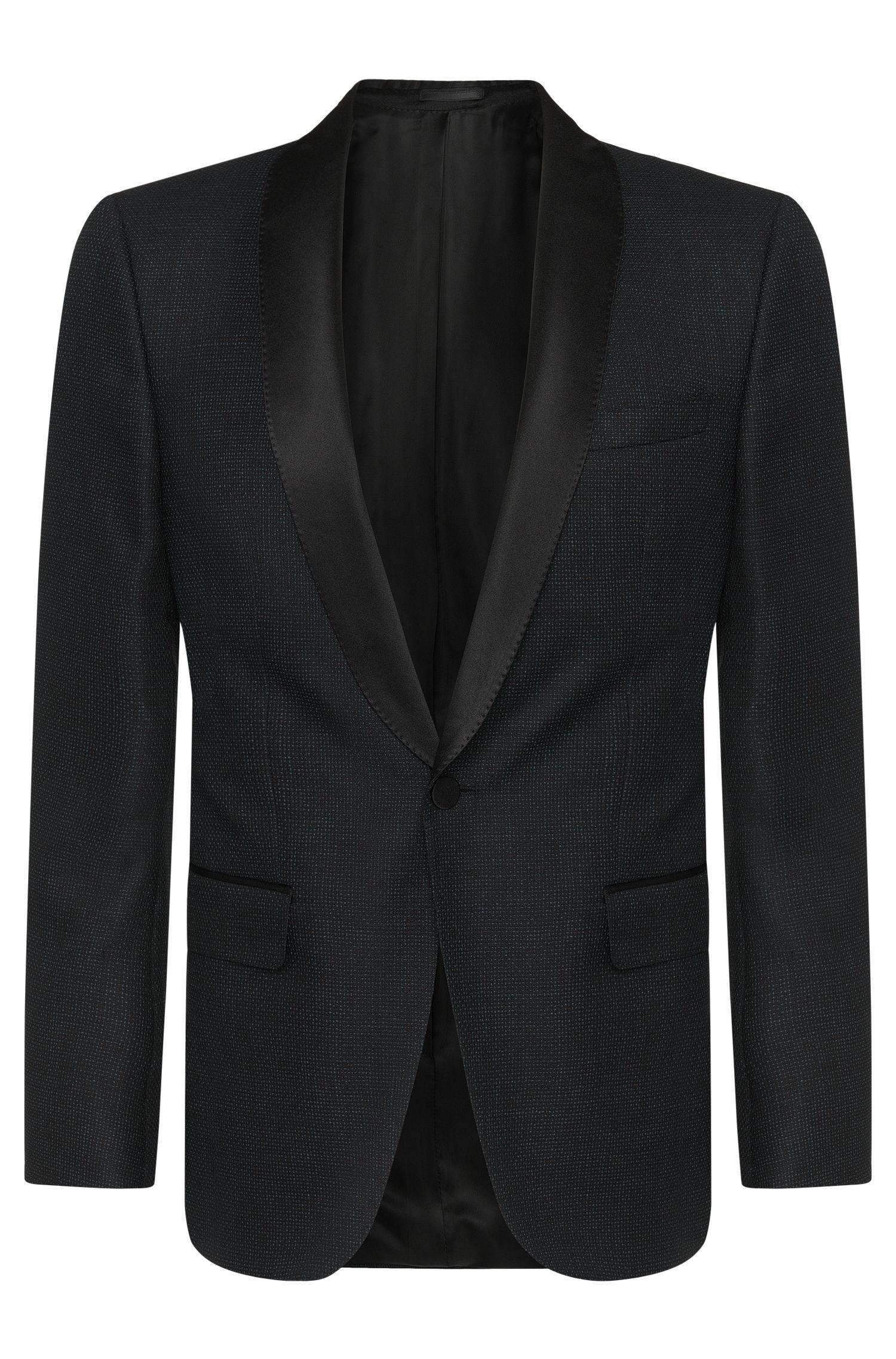 Slim-fit smokingjasje van een scheerwolmix met zijden beleg: 'Hockley'