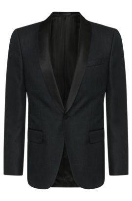 Veste de smoking Slim Fit en laine vierge mélangée à empiècements en soie : « Hockley », Noir